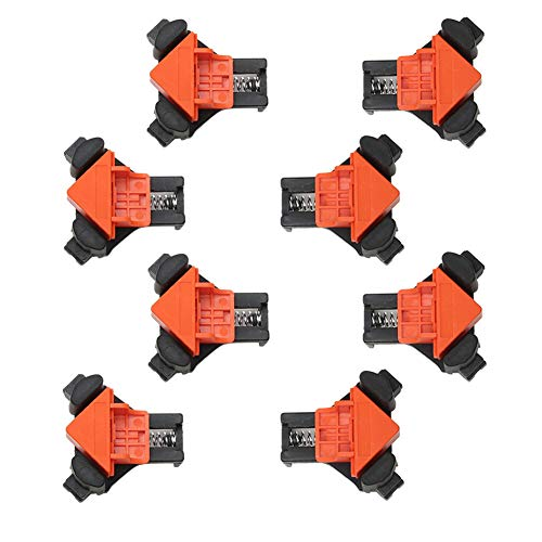 Woodworking 90 Degree Angle Corner Clamps, 8pcs ABS Adjustable Swing Corner Clip Fixer Carpenter Right Angle Fixing Clamps Bar Clamps for Drilling, Making Cabinets, Photo Framing, Crafting Projects