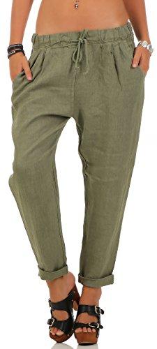 Malito Damen Hose aus Leinen | Stoffhose in Unifarben | Freizeithose für den Strand | Chino - Jogginghose 6816 (Oliv, XL)