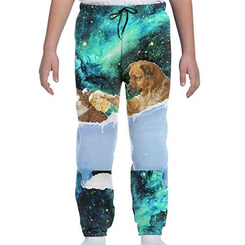 Sconosciuto Pantaloni Sportivi per Bambini Youth Dog Kitty Cat in Vasca Bolle Galaxy Boys 3D Cool Joggers Pantaloni Casual Sport S