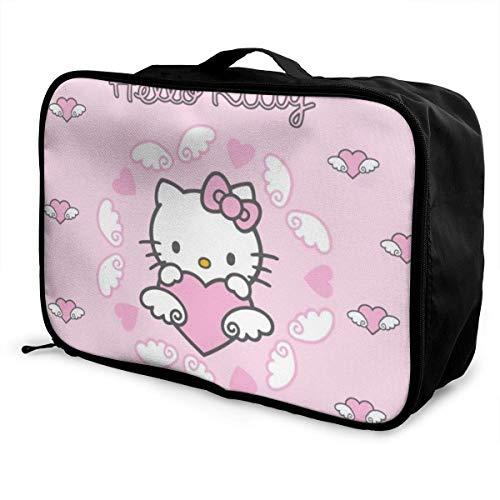 Bolsa de viaje de Hello Kitty, plegable, impermeable, ligera, portátil, de alta capacidad, para llevar
