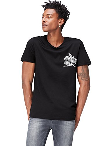 FIND Camiseta con Estampado Gráfico para Hombre, Negro (Black/white/classic Red), Small