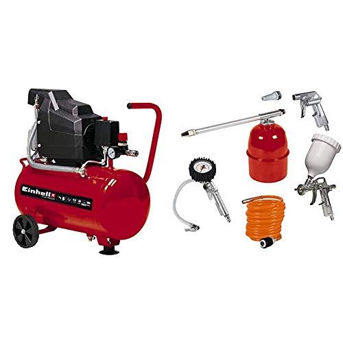 Einhell TC-AC 190/24 - Compresor, depósito de 24 l, 2850 rpm, 8 bar, 1500 W, 220 V, color rojo y negro (ref. 4007325) & Kit de accesorios para compresor de aire, 5 unidades (ref.4132720)