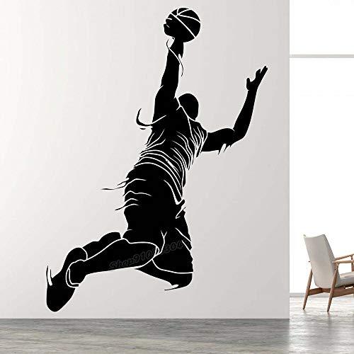 Jugadores de baloncesto calcomanías de pared juegos de equipo juegos de pelotas deportivas baloncesto deportes salud pegatinas de pared decoración de la habitación arte calcomanías de vinilo 43x31cm