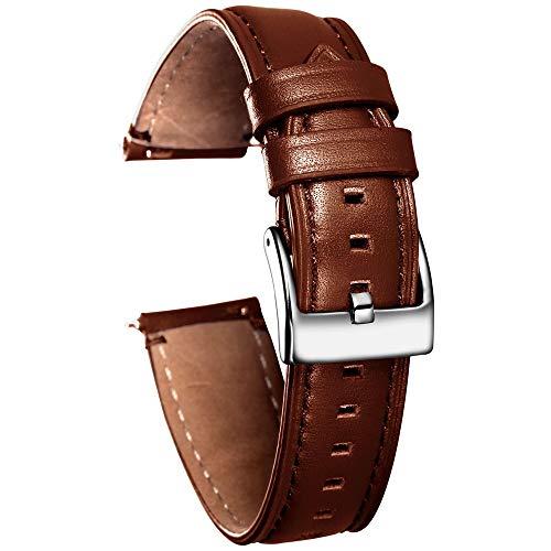 RSB Zwart-lederen horlogebandjes handgemaakte casual horlogeband leder 18mm 20mm 22mm 24mm (band kleur: koffie, band breedte: 18mm)