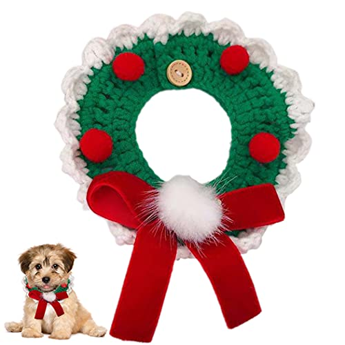 YHomU Pequeño Medio Decoración De Navidad Collar De Mascota De Navidad Toalla Tejida Decorativo Festivo Encantador Collar De Gato Collar De Bufanda para Mascotas Collar De Cachorro Baber