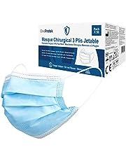 50 Wegwerp gezichtsmaskers OneProtek - Mondkapjes gecertificeerd 3 laags chirurgisch type IIR - Voldoet aan medische EN14683 - Comfortabele, ademende en stevige elastische oorlussen