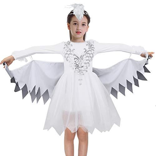 dPois Kinder Vögel Vögelchen Rollenspiel Glitzerndes Kleid Langarm Tutu mit Flügel Kopfschmuck Party Karneval Fasching Tanz Kostüm Weiß Weiß 122-128/7-8 Jahre