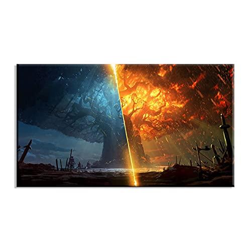 cuadros decoracioncuadroslienzowall art 55x75cm Frameloos Impresiones modulares Art Teldrassil Burning World of Warcraft Battle Azeroth Juego