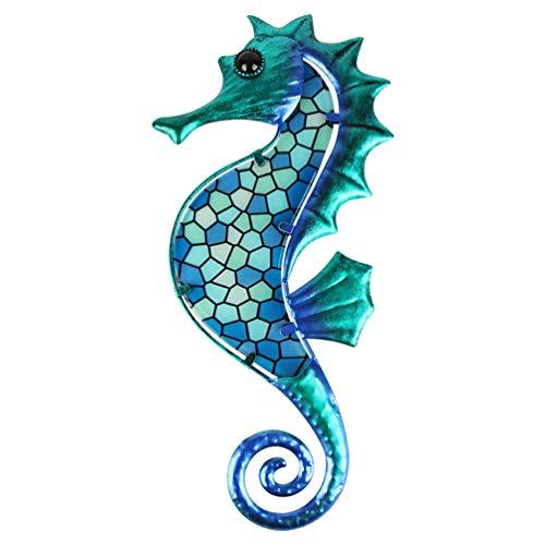 HONGLAND Metal Seahorse Wall Art Blue Mosaic Glass Wall DecorSculpture Hanging Ocean Decorations for Home, Garden, Fence,Livingroom, Indoor, Outdoor