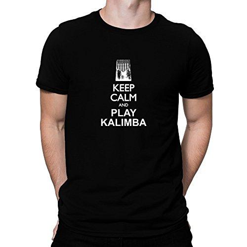 Teeburon Keep Calm and Play Kalimba Silhouette Camiseta