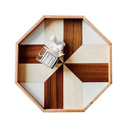 Holztablett, nordischer Stil, achteckiges Frühstückstablett, Küche, Servierteller, dekoratives Naturholz, Snack, Wüsten-Deko, Dinner-Teller (Größe: groß)