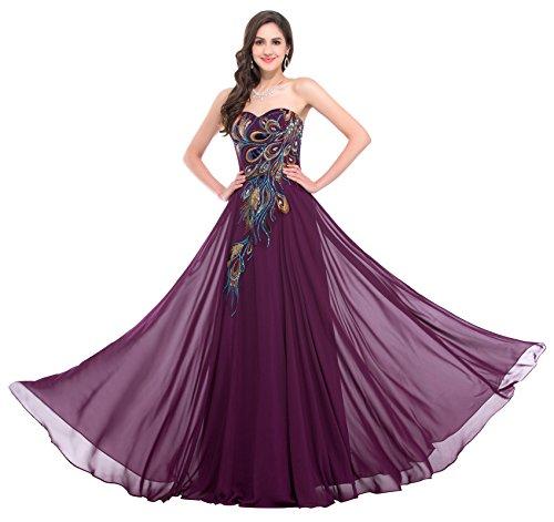 damenkleid a Linie ballkleid Purpur Schulterfreies Kleid Elegante Brautkleider Chiffon maxikleid 56 CL675-3