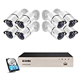 ZOSI 5MP PoE CCTV Camera System Home Security Outdoor 8x 1080p 2MP Surveillance PoE Bullet IP Cameras 8CH NVR Recorder H.265+ 2TB Hard Drive, 120ft Night Vision Motion Detection Email APP Alerts