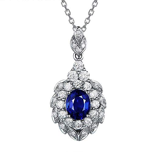 necklace Ladies fashion 9CT oval sapphire solid platinum and diamond wedding engagement natural gemstone pendants Set Hoisting
