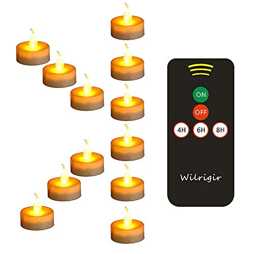 Wilrigir LED Remote Tea Lights with Timer ,Electric Fake Candles ,Flickring Amber Flameless Votive Lights ,Tealight Candles for Wedding and Home Decoration ,Pack of 12