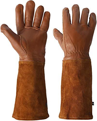 Gartenhandschuhe mit extra langen Ziegenleder-Ärmeln für Damen und Herren, atmungsaktiv, dornensicher, Gartenhandschuhe, M