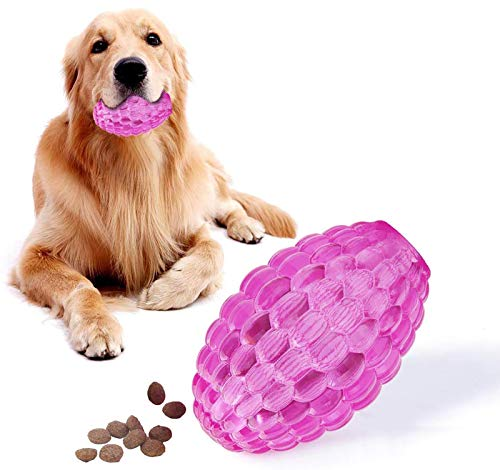 EETOYS Treat Dispensing Dog Toys for Aggressive Chewers Durable Dog Toys High Bounce Dog Puzzle Chew Toys for Puppy Large Medium and Small Dogs Lifetime Replacement Guaranteed Made with TPE Rubber
