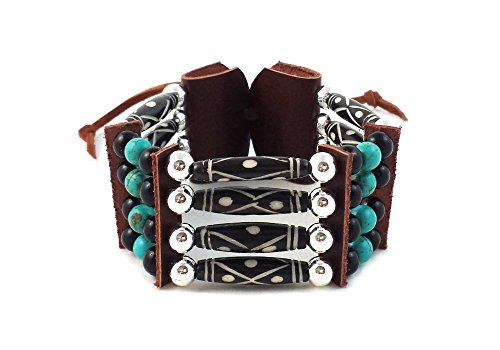 Local Bead Shop Handmade Traditional 4 Row Carved Buffalo Bone Hairpipe Beads Tribal Bracelet