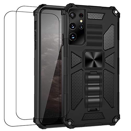 Carcasa compatible con Samsung S21 Ultra Case Samsung S21 Ultra Funda con cristal templado, antigolpes y anticaída, ultrafina, color negro, Samsung S21 Ultra)