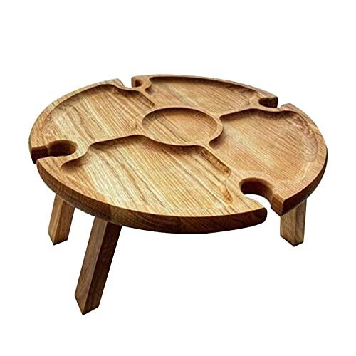 JiangM Mesa de picnic plegable de madera para exteriores, con soporte para botellas de vino, mesa redonda plegable para camping