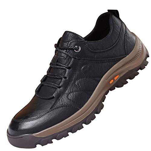 XIHUANNI Zapatos de montañismo al aire libre, zapatos de hombre cálidos e impermeables, zapatillas de deporte de cuero antideslizante