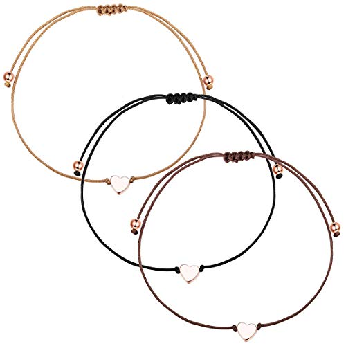 YADOCA 3 Stück Seil Herz Armband für Frauen Mädchen Paar Einfach Liebes Herz Einstellbar Seil Armband