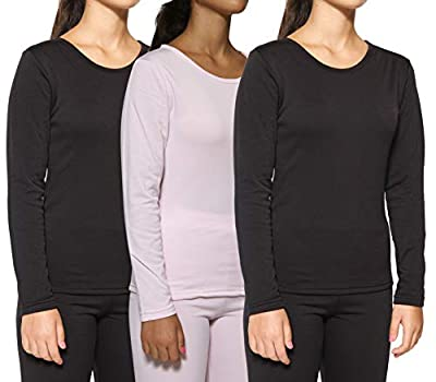 3-Pack: Women's Thermal Fleece Lined Long Sleeve Undershirts Pack Cute Compression Tops Essential Winter Clothing - Set 2, Large by