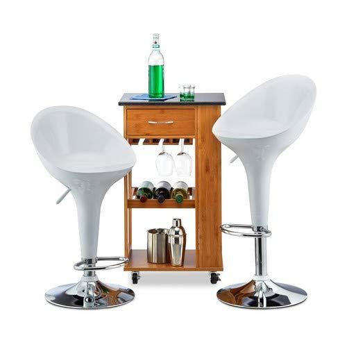 Relaxdays Barhocker 2er Set, höhenverstellbar, drehbar, bis 120 kg, mit Lehne, Barstuhl, HxBxT: 101 x 45 x 40 cm, weiß