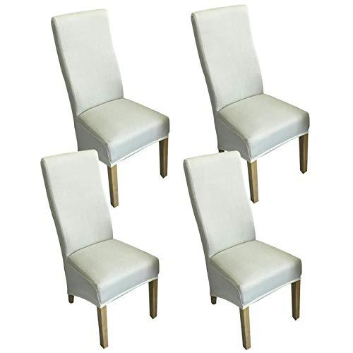 LYY Funda para silla de comedor, licra para silla de respaldo alto, funda protectora de silla para 4 piezas de protectores de silla con banda elástica, color sólido, ajuste universal