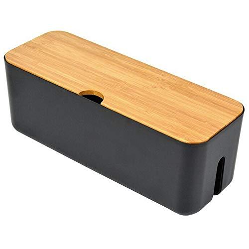TTBD la Caja de Almacenamiento de Cable Caja de Cable de Regleta Organizador de Enchufe Cargador de Anti Polvo Bin de Almacenamiento de LíNea de Rojo de Escritorio Negro