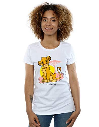 Disney Mujer The Lion King Simba Pastel Camiseta Blanco Large