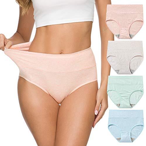 Wealurre Dames Hoge Taille Katoen Knickers Ademende Tummy Controle Ondergoed Vrouwen Zachte Volledige Briefs Hipster Panties Packs