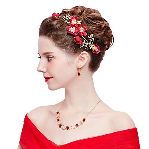 XBFS Sombrero Tiara Nupcial Rojo Estilo Coreano Super Hada Belleza Boda joyería...