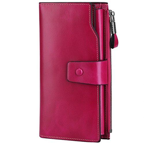 S-ZONE Damen groß Kapazität Luxus echtes Leder Geldbörsen mit Reißverschluss-Tasche