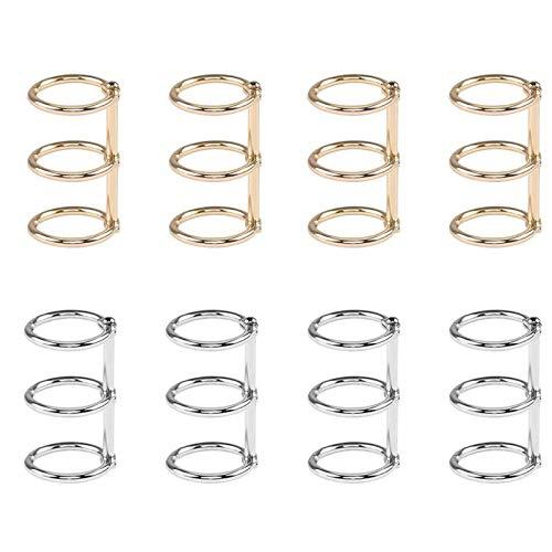 8 Stück Ring Buch Ring, Ordner Ringbuch Metall, Loseblatt Blatt Binder Ring, für Notizbuch, Tagebuch, Fotoalbum, DIY (Gold, Silber)