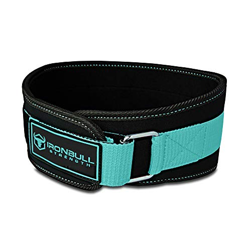 Iron Bull Strength Women Weight Lifting Belt - High Performance Neoprene Back Support - Light Weight & Heavy Duty Core Support for Weightlifting and Fitness (Black/Mint, Medium)