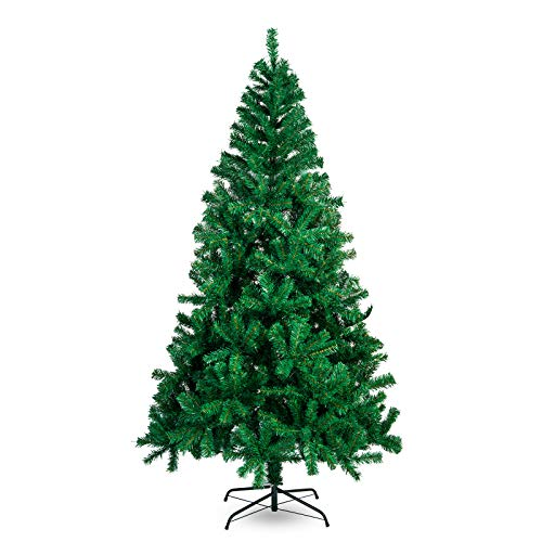 La fete Unlit Green Artificial Christmas Tree 5ft Lightweight Premium Pine Christmas Tree with Metal Stand Easy Assembly, Perfect for Indoor Holiday Decoration (Green, 5 FT)
