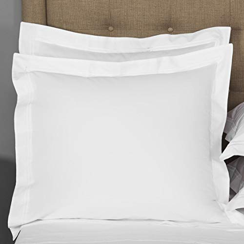 THREAD SPREAD European Square Pillow Shams Set of 2 White 1000 Thread Count 100% Egyptian Cotton Pack of 2 Euro 26 x 26 Bright White Pillow Shams Cushion Cover, Super Soft Decorative.