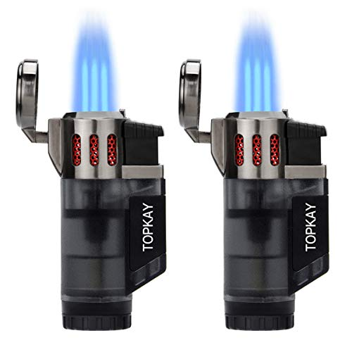 Torch Lighter, Cigar Lighter, Triple Jet Flame Torch Lighters, Windproof Butane Refillable Gas Torch Lighters with a Gift Box, 2 Pack (Without Gas) (Frosted Black)