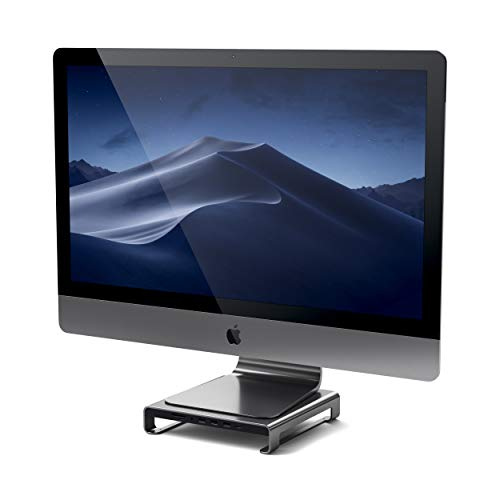 SATECHI Soporte de Aluminio Tipo-C con USB-C de Datos Integrado, USB 3.0, Ranuras para Tarjetas Micro/SD y Jack de Audio Compatible con iMac Pro y 2017 iMac (Gris Espacial)