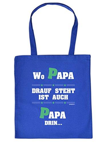 Kultiger Stoffbeutel/Tragetasche mit PAPA-Motiv:Wo Papa drauf steht ist auch Papa drin...