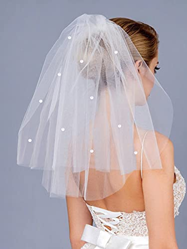 Mayelia Velo de novia de boda, color blanco, longitud del hombro, velo...