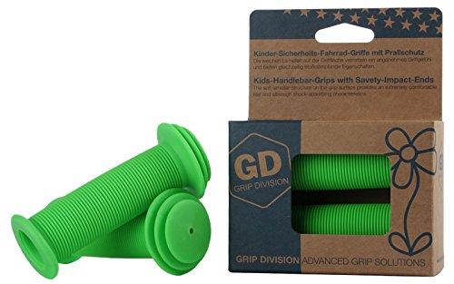 GD Grip Division® Kinder-Sicherheits-Fahrrad-Griffe mit Prallschutz | Phthalate frei | neongrün