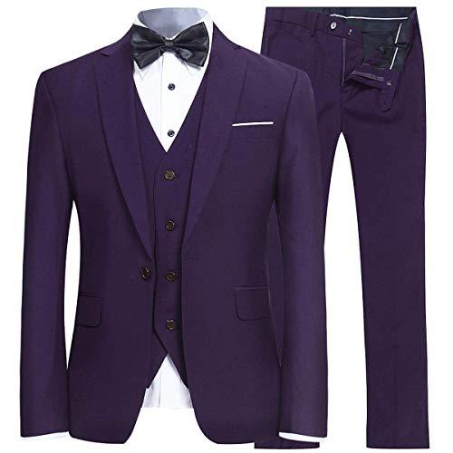 YFFUSHI Men's Slim Fit 3 Piece Suit One Button Business Wedding Prom Suits Blazer Tux Vest & Trousers Purple