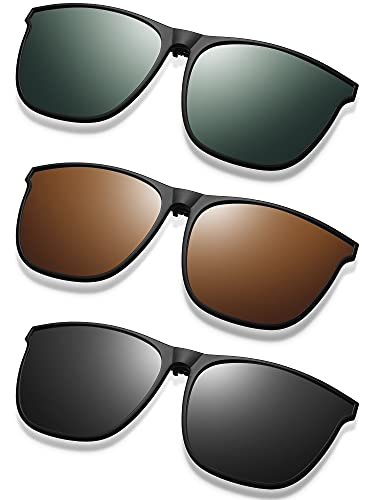 3 Pair Polarized Clip-on Sunglasses Anti-glare TR90 Frame Flip Up Driving Clip-on Glasses for Women and Men (Classic Colors)