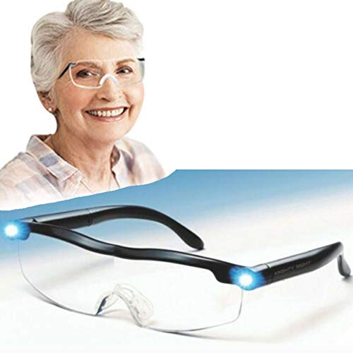 GzxLaY Mighty Sight Lupen mit LED-Licht, LED Big Zoom Vision Lupen Brillen, tolle Brillen für Leser, Frauen, Männer, Kinder