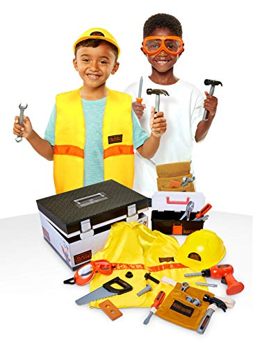 BLACK+DECKER Construction Dress Up Trunk for Kids with Fabric Role Play Costume Accessories, Realistic Toy Tools & Portable Kid-Sized Tool Box – 22Piece Included (Amazon Exclusive) JungleDealsBlog.com