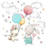 Little Deco Wandtattoo Wandsticker Kinderzimmer Tiere Hase I Wandbild 50 x 33 cm (BxH) I Luftballon Sterne Wandaufkleber Spielzimmer Baby Deko Kinder DL602
