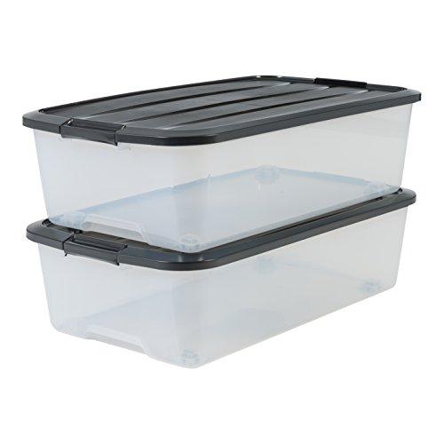 Marca Amazon - Iris Ohyama - Juego de 2 cajas de almacenamiento para cama con ruleta, TBU-40, plástico, transparente y negro, 40 L, 68 x 39 x 19,3 c
