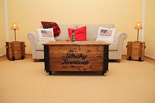 Uncle Joe´s Couchtisch XL Whisky Truhentisch Truhe im Vintage Shabby chic Style aus Massiv-Holz in braun mit Stauraum und Deckel Holzkiste Beistelltisch Landhaus Wohnzimmertisch Holztisch nussbaum - 5